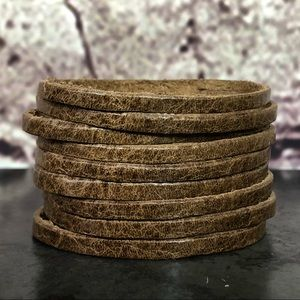 Jewelry - NEW Full-grain brown leather slashed cuff bracelet